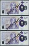 Bank of England, Sarah John, polymer £20, ND (20 February 2020), serial number AA01 001908/1911/1919