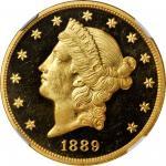 1889 Liberty Head Double Eagle. Proof-65 * Ultra Cameo (NGC).