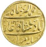 HYDERABAD: Sikandar Jah, 1808-1829, AV nazarana mohur (11.15g), Farkhanda Bunyad, AH1237 year 16, Cr