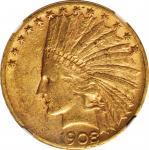 1908-S Indian Eagle. AU-53 (NGC).