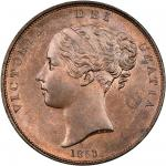 Victoria (1837-1901), Penny, 1853, ornamental trident, young head left, rev. Britannia seated right