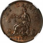 NEW ZEALAND. Auckland. H. Ashton. 1/2 Penny Token, 1858. NGC MS-62 BN.