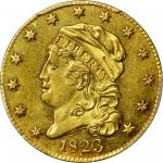 1823 Capped Head Left Half Eagle. BD-1, the only known dies. Rarity-4+. MS-61 (PCGS).