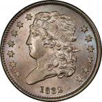 1832 Classic Head Half Cent. Cohen-3, Breen-3. Rarity-2. Mint State-66 BN (PCGS).