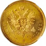 FINLAND. 20 Markkaa, 1879-S. Helsinki Mint. Alexander II. NGC MS-64.