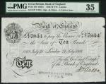 Bank of England, George Forbes (1866-1873), 」10, London 21 July 1868, serial number X/F 17934, black