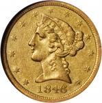 1846-O Liberty Head Half Eagle. AU-50 (NGC).
