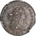 1798 Draped Bust Silver Dollar. Heraldic Eagle. BB-112, B-15. Rarity-3. Pointed 9, Wide Date. EF-40