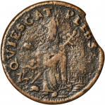 Undated (ca. 1652-1674) St. Patrick Farthing. Martin 1c.22-Ba.9, Breen-208, W-11500. Rarity-7-. Copp