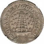 1808年印度马德拉斯1/4塔。INDIA. Madras Presidency. 1/4 Pagoda, ND (1808-11). NGC AU-58.