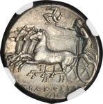 SICILY. Syracuse. Agathocles, 317-289 B.C. AR Tetradrachm (17.09 gms), ca. 310-305 B.C. NGC AU, Stri