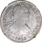 1802-Mo FT/FM年墨西哥双柱壹圆银币。墨西哥城铸币厂。查理四世。 MEXICO. 8 Reales, 1802-Mo FT/FM. Mexico City Mint. Charles IV.