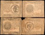 Lot of (4) CC-7 & CC-8. Continental Currency. 1777-78. $7 & $8. Fine to Very Fine.