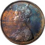 1863年香港一仙样币维多利亚 HONG KONG. Copper Cent Pattern, 1863. Victoria. PCGS PROOF-65 BN Gold Shield.