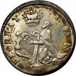 """Undated (ca. 1652-1674) St. Patrick Farthing or """"Shilling"""". Martin 1d.1-Ba.11. Rarity-6+. Silver. AU"""