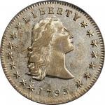 1795 Flowing Hair Silver Dollar. BB-27, B-5. Rarity-1. Three Leaves. EF-45 (PCGS).