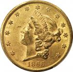1866-S Liberty Head Double Eagle. Motto. AU-58+ (PCGS). CAC.