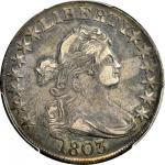 1803 Draped Bust Half Dollar. O-103, T-3. Rarity-3. Large 3. VF-35 (PCGS).