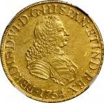 PERU. 8 Escudos, 1754-LM JD. Lima Mint. Ferdinand VI. NGC AU-58.