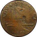 1787 New Jersey copper. Maris 27-j. Rarity-6+. Small Planchet, Plain Shield. Fine Detail, Damage (PC