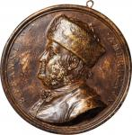1777 B. Franklin American Plaque. Bronze-Lacquered Ceramic. 93 mm. By Nini. cf. Greenslet GM-8, Bett