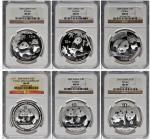 CHINA. Sextet of 10 Yuan (6 Pieces), 2006-10. Panda Series. All NGC MS-69 Certified.