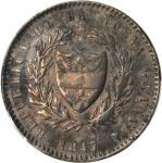 COLOMBIA. 1847 pattern 8 Reales. Bogotá mint. Restrepo P22. Bronze. EF Detail — Environmental Damage