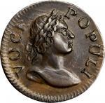 1760 Voce Populi Farthing. Nelson-1, W-13800. Large Letters. AU-58+ (PCGS).