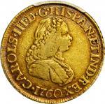 COLOMBIA. 1760-JV 2 Escudos. Santa Fe de Nuevo Reino (Bogotá) mint. Carlos III (1759-1788). Restrepo