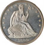 1869 Liberty Seated Half Dollar. Proof-65 (NGC).
