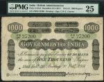 Government of India, 1000 rupees, Bombay, 20 February 1914, serial number ZB/95 23200, black and whi