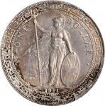 1911-B年英国贸易银元站洋壹圆银币。孟买铸币厂。 GREAT BRITAIN. Trade Dollar, 1911-B. Bombay Mint. PCGS Genuine--Cleaned,