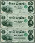IRELAND, REPUBLIC. Treasury of the Irish Republic. 5 Dollars, 1866. P-S101. PMG About Uncirculated 5