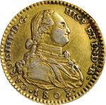 "SPAIN. Gilt Platinum Contemporary Counterfeit 2 Escudos, ""1803"". Imitating Madrid Mint. Charles IV."