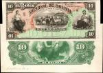 BOLIVIA. Banco Nacional de Bolivia. Lot of (2) 10 Bolivianos, 1883. P-S207p. Proofs. Choice Uncircul