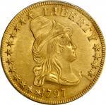 1797年半身像右鹰金币 PCGS AU 55 1797 Capped Bust Right Eagle