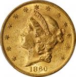 1860 Liberty Head Double Eagle. AU-58 (PCGS).
