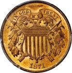 1871 Two-Cent Piece. MS-66 RD (PCGS).