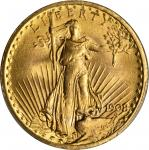 1908 Saint-Gaudens Double Eagle. No Motto. Unc Details--Scratch (PCGS).