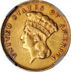 1863 Three-Dollar Gold Piece. AU-53 (NGC).