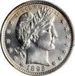 1892 Barber Quarter. Type II Reverse. Unc Details--Cleaned (PCGS).