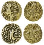 Kidarite, Pratapaditya II (5th century), base gold Dinar, 7.22g, Vinayaditya (late 5th century), bas