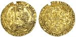 Richard II (1377-99), Half-Noble, type 2a, 3.13g, mm. none, rica [ ] dns hib z aqt, saltire stops, i