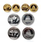 2009、2012年熊猫金银币一组4枚 完未流通