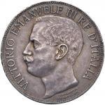 Savoy Coins;Vittorio Emanuele III (1900-1946) 5 Lire 1911 - Nomisma 1129 AG R Minimi colpetti al bor
