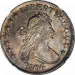 1806 Draped Bust Half Dollar. O-121, T-29. Rarity-4. Pointed 6, Stem Through Claw. MS-63 (NGC).