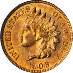 1908 Indian Cent. MS-65 RD (PCGS). CAC.