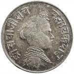 BARODA: Sayaji Rao III, 1875-1938, AR frac12 rupee 405。66g41, VS1851, Y-35a, EF。