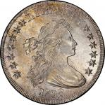 1798 Draped Bust Silver Dollar. Bowers Borckardt-113, Bolender-27. Rarity-2. Pointed 9, Close Date.