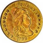 1799 Capped Bust Right Eagle. BD-4, Taraszka-16. Rarity-7. Small Obverse Stars. AU-55 (PCGS).